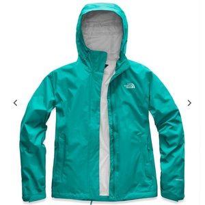 Teal north face rain coat